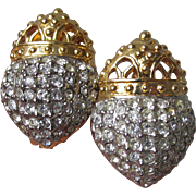 Joan Rivers Vintage Pave Rhinestone Acorn Crown Earrings