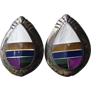 Native American Inlaid Multi Gemstone Vintage Sterling Silver Teardrop Pierced Earrings