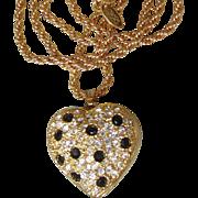 Joan Rivers Vintage Black Rhinestone Heart Locket Necklace