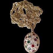 Joan Rivers Vintage Multi Color Rhinestone EGG Locket Necklace