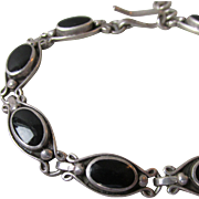 "Pretty Sterling Silver & Black Onyx Link Vintage Bracelet, Adjustable 7"" - 8"""