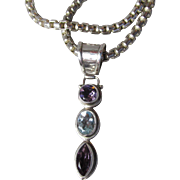 Sterling Silver Amethyst & Blue Topaz Narrow Pendant Heavy Chain Vintage Necklace