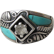Vintage Carolyn Pollack Relios Sterling Silver, Turquoise & CZ Navajo Feather Ring, Size 9