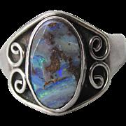 SAJEN Sterling Silver Black Opal Vintage Bali Ring, Size 7
