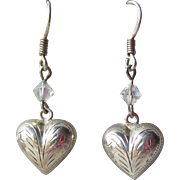 Vintage Sterling Silver Engraved Puffy Heart & Crystal Dangle Earrings