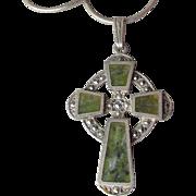 Vintage Celtic Cross Sterling Silver & Marcasite Necklace, Irish Connemara Marble