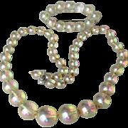 1950's Vintage Aurora Borealis Lucite Soap Bubble Bead Necklace & Brooch Demi Parure
