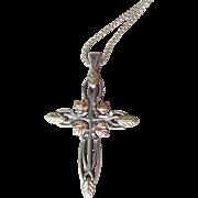 Vintage Black Hills Gold Sterling Silver & 12k Gold Cross Pendant Necklace