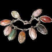 "Unusual Vintage 1960's Hand-Made Semi Precious Gemstone Rocks In Cages Charm BIG 8"" Bracelet"