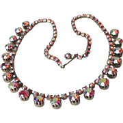 Vintage 1950's Unsigned WEISS Raspberry Polychromed Red Aurora Borealis Rhinestone Necklace