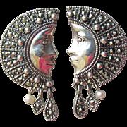 Gorgeous Thai Goddess Half Moon Face Sterling Silver, Marcasite & Pearl Vintage Pierced Earrings