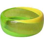1960's MOD Vintage Yellow & Lime Green Swirl Wide Lucite Bangle Bracelet