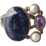 Lapis Lazuli, Amethyst, Cultured Pearl Sterling Silver Vintage Ring, Size 8.5