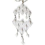 1960's MOD White Enamel Big Dangle Pendant Necklace