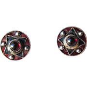 Vintage 1960's Hippie Boho Maroon with Green Enamel & Garnet Cabochon Stud Earrings