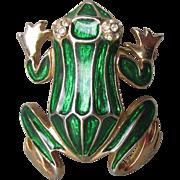 Cute 1990's Vintage Green Enamel Gold Tone FROG Pin