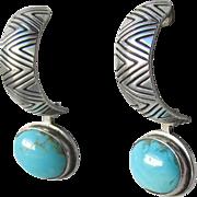 Carolyn Pollack Relios Vintage Sterling Silver & Reversible Turquoise Dangle Demi Hoop Earrings