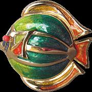 Liz Claiborne Vibrant Multi Color Enamel FISH Pin, Vintage 1990's Brooch