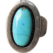 Ivan Kee Navajo Sterling Silver & Royston Turquoise Vintage Ring, Size 7.5