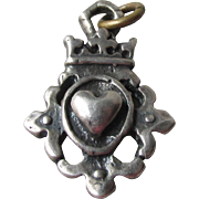 Sterling Silver Victorian Loyalty Puffy Heart with Crown Vintage Charm