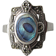 Gorgeous Sterling Silver Vibrant Blue Abalone & Marcasite Vintage Ring, Size 9