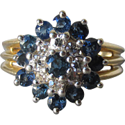 14k Gold, Diamond & Sapphire Flower Cluster Vintage Cocktail Ring, Size 7.5