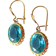 Beautiful Antique Victorian 14k Gold Turquoise Blue Paste Dangle Pierced Earrings