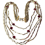 CORO Vintage Multi Chain with Ruby Red Open Back Crystals Necklace