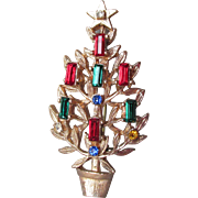 Pretty Vintage Christmas Tree Rhinestone Candles Pin, Book Piece!