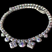 Vintage Unsigned WEISS Blue Aurora Boralis Rhinestone Choker Necklace