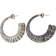 Signed SAJEN Balinese Sterling Silver BIG Hammered Filigree Edge Hoop Earrings