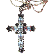 Pretty Black Sterling Silver & Blue Topaz Cross Pendant Vintage Necklace