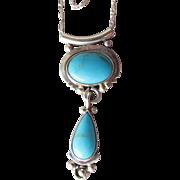 Vintage Running Bear Shop Sterling Silver Turquoise Slide Pendant Necklace