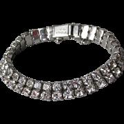 Signed Vintage Kramer NY Double Row Crystal Rhinestone Bracelet