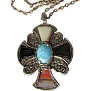 BIG Vintage 1960's Miracle Scottish Glass Agate Celtic Cross Pendant Necklace