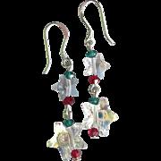 """My Secret Garden"" Swarovski Crystal with Sterling Silver Artisan Earrings, ""Christmas Shooting Stars"" #88"