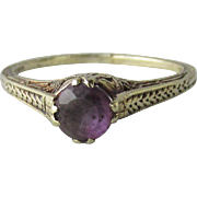 Antique Victorian 14k Gold & Amethyst Ring Size 5, High Profile Ornate Filigree Setting