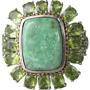 Massive Vintage Chuck Clemency NYC II Sterling Silver, Gold Vermeil Green Turquoise & Peridot Ring STS, Size 9