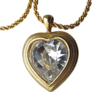 Vintage Joan Rivers BIG Crystal Heart Pendant Necklace
