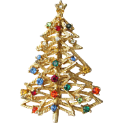 Signed ART Vintage 1960's Multi Color Rhinestone Christmas Tree Pin