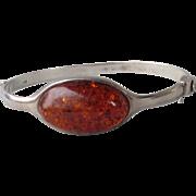 Vintage Sterling Silver Baltic Honey Amber Hinged Bangle Bracelet, Size Small