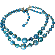 Modernist 1960's Dark Turquoise Swarovski Crystal Aspirin & Lucite Moonglow Bead Double Strand Vintage Necklace