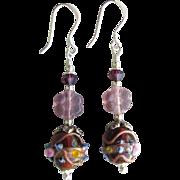 """""""My Secret Garden"""" Czech Art Glass Bead, Sterling Silver Artisan Earrings, """"Purple Venetian Wedding Cake"""" #99"""