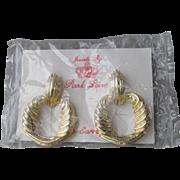 MIB Park Lane Huge 1980's Gold Tone Door Knocker Clip Earrings