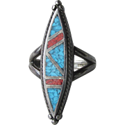 Vintage Native American Zuni Inlaid Turquoise & Coral Chip LONG Narrow Black Sterling Silver Ring, Size 9