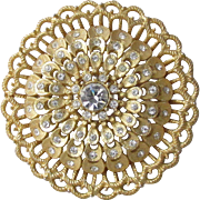 Gorgeous 1980's Vintage Gold Tone Rhinestone Sunflower Pin