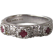 Judith Ripka Vintage Sterling Silver, Ruby & CZ Band Ring, Size 10