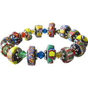 Artisan Antique African Trade Venetian Art Glass Bead & Swarovski Multi-Colored Crystal Stretch Bracelet #3