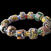 Artisan Antique African Trade Venetian Art Glass Bead & Swarovski Multi-Colored Crystal Stretch Bracelet #4