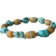 Antique African Trade Ceramic Bead & Turquoise Nugget Artisan Stretch Bracelet